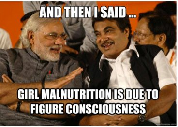Narendra Modi To Nitin Gadkari Girl Malnutrition Is Due Figure Consciousness Robert Vadra Meme